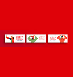 merry christmas family people web banner set vector image