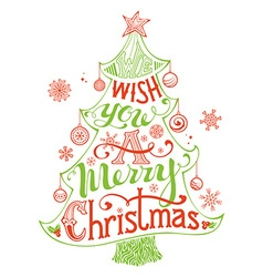 Merry Christmas Lettering in Christmas Tree vector image