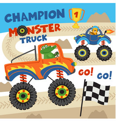 monster trucks with animals on races vector image