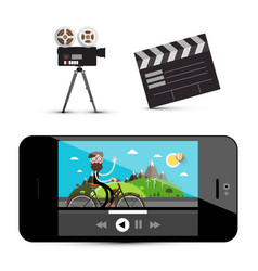 Movie player on smartphone camera and clapper vector