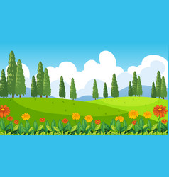 Nature scene background with flowers on hills vector