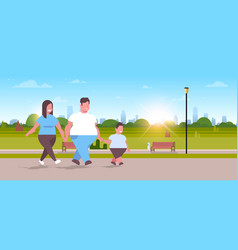 over size family walking together urban park vector image
