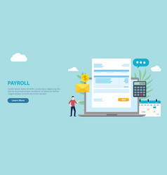 Payroll employee worker with invoice paper on the vector