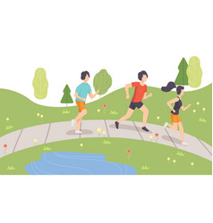 people running in park in morning physical vector image