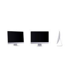 Personal computer mockup in front side and angle vector