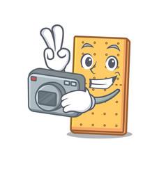 Photographer graham cookies mascot cartoon vector