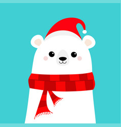 polar white bear cub face in red santa hat scarf vector image