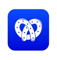Pretzel icon blue vector