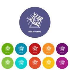 Radar chart icons set color vector
