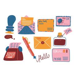 retro post supplies set mailbox letters vector image