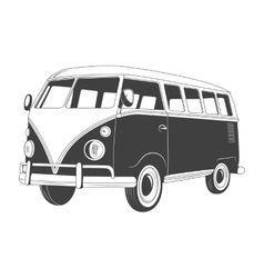 Retro travel bus side view vector