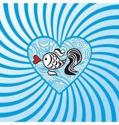 Sea fish heart pattern vector image