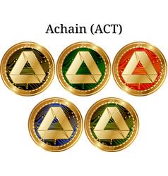 Set of physical golden coin achain act vector