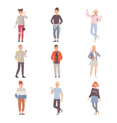 Set of teenagers in different poses wearing casual vector