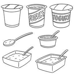 set of yogurt vector image