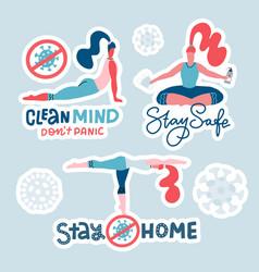 set stickers - long hair women doing yoga vector image