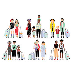 set traveling families and couples different vector image