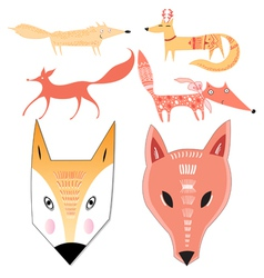 Seth different foxes vector