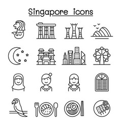 Singapore icon set in thin line style vector