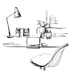 sketch workplace in front computer vector image