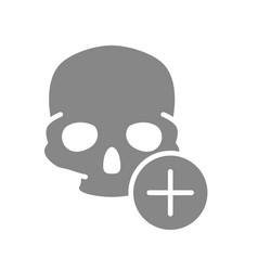 skull with plus grey icon bone structure vector image