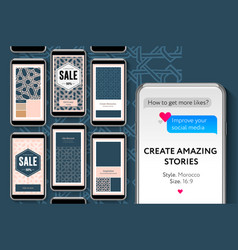 Social media story templates for brands and vector