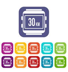 speedometer bike icons set vector image