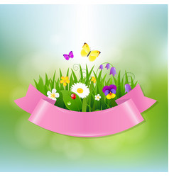 Spring flowers with pink ribbon vector