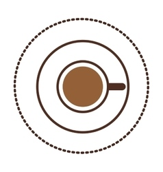 Sticker coffee cup top view drink icon vector