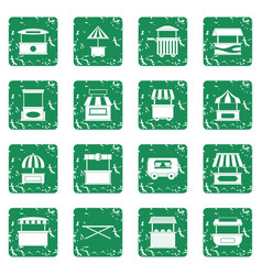 Street food truck icons set grunge vector