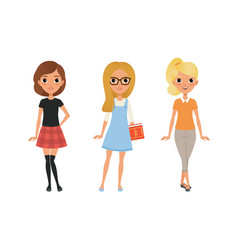 three beautiful girls dressed in trendy clothes vector image