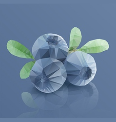 Three blueberries in modern triangulated style vector image vector image
