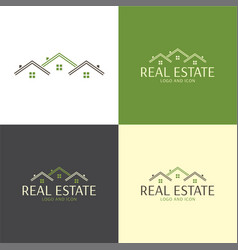Three houses roofs real estate logo and icon vector