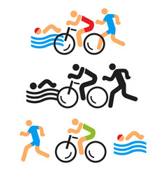 triathlon icons vector image