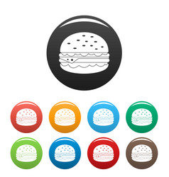 unhealthy burger icons set color vector image