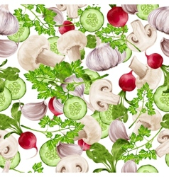 Vegetable mix seamless pattern vector image