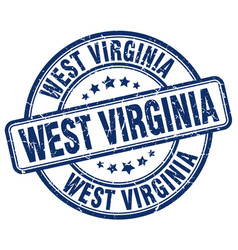 West virginia blue grunge round vintage rubber vector