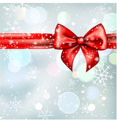 winter background with red bow ribbon vector image