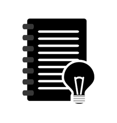 wired notebook and lightbulb icon vector image