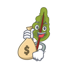 with money bag chard character cartoon style vector image