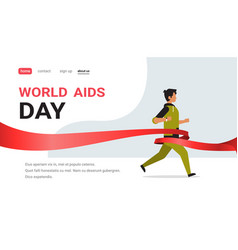 World aids day awareness red ribbon sign man run vector