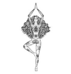 Yoga woman pose vrikshasana girl meditation vector