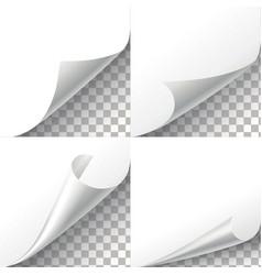 Curl paper corners set on transparent vector image vector image
