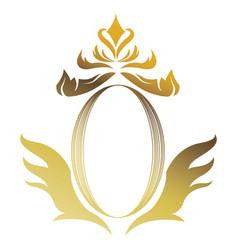 golden shield floral heraldic luxury frame vector image vector image