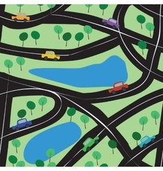Seamless background with toy cars roads and trees vector image vector image