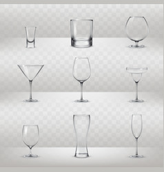 set of glasses for alcohol and other drinks vector image vector image