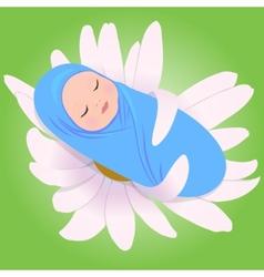 Sleeping babe in Daisy vector image vector image