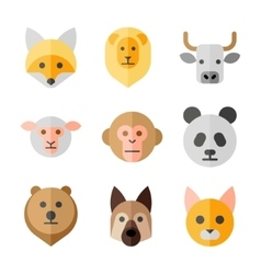 Animals heads flat icons set vector image vector image