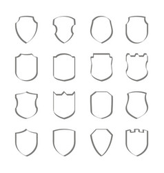 set of monochrome icons with shield vector image vector image