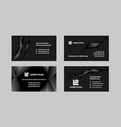 black business cards set vector image